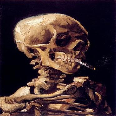 Caveira com cigarro aceso