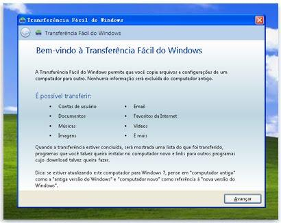 Faa backup e transferncia com recursos do Windows