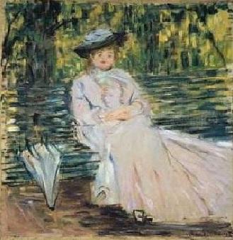 Mulher sentada num banco