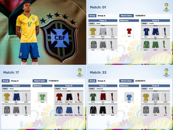 Uniformes dos jogadores do Brasil foram definidos para a primeira fase da Copa 2014